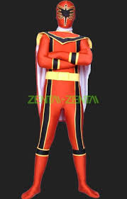 power rangers mystic force red yellow lycra body catsuit