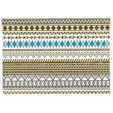 tribal and geometric inspired gold silver blue and turquoise