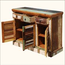 matchless rustic reclaimed teak wood buffet with storage with