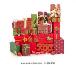 christmas present bows beautiful stack christmas presents ribbons bows stock photo