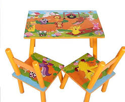 kids animal table and chairs children kids wooden table and 2 chairs set yellow zoo animals