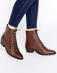 womens boots uk asos cool asos leather lace up ankle boots choc womens o5s9407