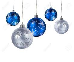 blue and silver balls hanging isolated on white