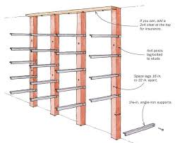 Woodworking Storage Shelf Plans by Angle Iron Lumber Rack Finewoodworking