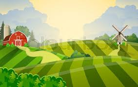 A Cartoon Barn Cartoon Farm Field Green Seeding Field Red Barn On A Green