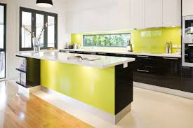 green and yellow kitchen ideas with pendant lamps and modern sink
