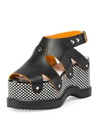 proenza schouler checkerboard platform leather sandal in black lyst