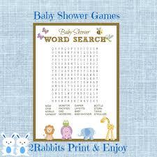 safari jungle animal baby shower word search game baby shower