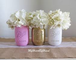 pink gold and white distressed mason jars pink and gold baby