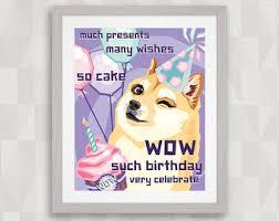 doge birthday card etsy