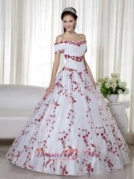 off shoulder embroidery white and red quinceanera dress most