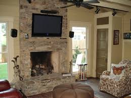 decorations cheerful stone wall fireplace design with wooden