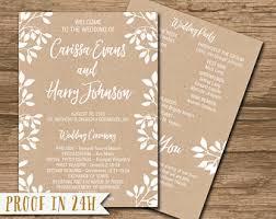 Kraft Paper Wedding Programs Rustic Wedding Program Ceremony Program Printable Files