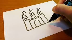very easy how to draw a castle art on paper for kids youtube
