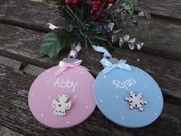 Bespoke Baby S First Christmas Wooden Tag Decoration by Personalised Christmas Bauble Hand Painted Wooden Xmas Tree