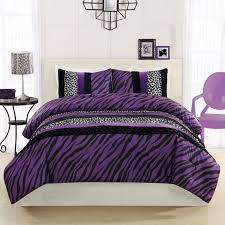 Black Down Comforter Bedroom Black And Purple Zebra Patterned Bed Coveer And Pillow