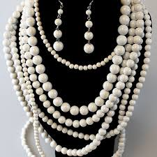 multi bead necklace images White multi strand bead necklace set jpg