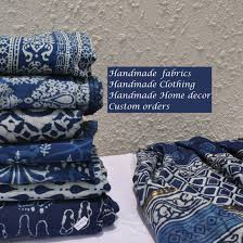 block print indian fabric custom clothing home by vedahdesigns