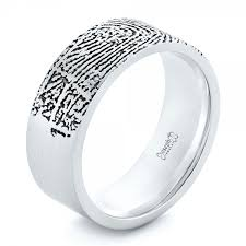 fingerprint wedding bands custom men s engraved fingerprint wedding band 102383