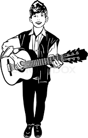 black and white vector sketch of a boy playing a guitar stock