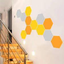 12 honeycomb geometric hexagons vinyl wall stickers home decor