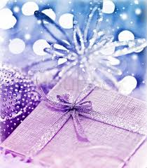 purple blue gift box with baubles decorations tree