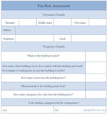 sample fire risk assessment form sample forms