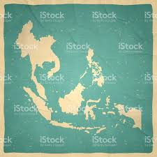 Southeastern Asia Map by Southeast Asia Map On Old Paper Vintage Texture Stock Vector Art