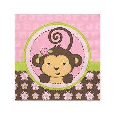 pink monkey baby shower beverage napkins 16 ct