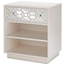 white geo pattern mirrored nightstand