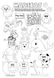 coloring pages of animals in their habitats english worksheets the animals worksheets page 5