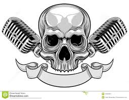 skull ribbon skull with microphone and ribbon stock vector image 44269931