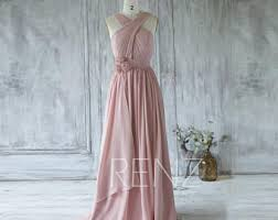 Dusty Rose Wedding Dress Bridesmaid Dress Dusty Rose Chiffon Wedding Dressv Neck Long