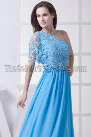 blue one shoulder prom dress military ball gown thecelebritydresses