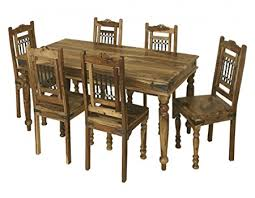 dining room table six chairs jali solid sheesham indian rosewood 1 75m dining table six chairs