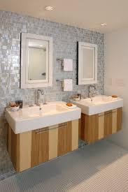 bathroom stylish double sink vanity with black wooden base open