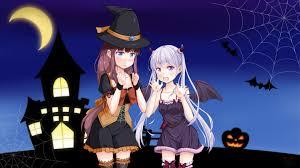 wallpaper new game suzukaze aoba takimoto hifumi halloween