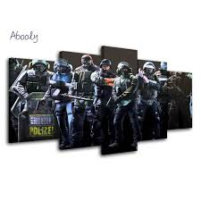 vintage siege 5piece canvas picture home decor rainbow six siege canvas poster