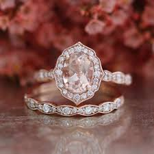 rose gold wedding set amethyst bridal set vintage floral oval morganite engagement ring and