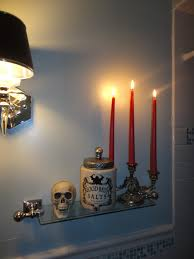 halloween glass halloween glass shelf in the bathroom blood red drippy candles