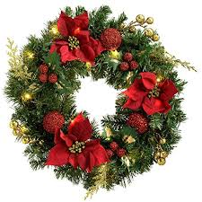 werchristmas pre lit decorated wreath illuminated with 20 warm