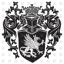 royal coat of arms with heraldic gryphon royalty free vector clip