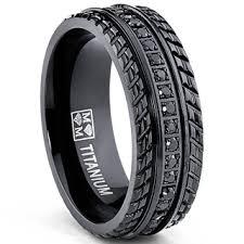 cheap titanium rings images Oliveti black plated titanium men 39 s black cubic zirconia comfort jpg