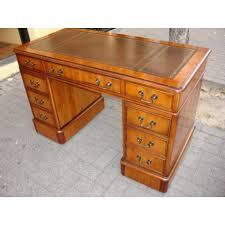 bureau de style style pedestal desk in yew wood