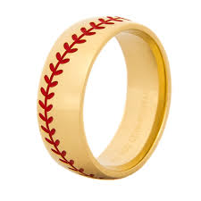 mens gold wedding band men s gold baseball wedding band titanium buzz