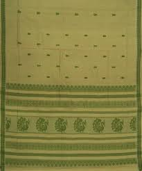 light pista color handloom bandar cotton saree apco andhra