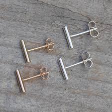 simple earrings simple bar earring studs in sterling silver by huiyi