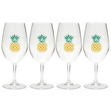 pineapple acrylic wine glasses set of 4 christmas tree shops