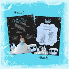 blue midnight princess carriage quinceanera invitation any color