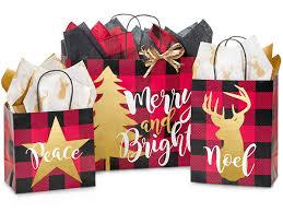 christmas shopping bags buffalo plaid christmas assortment 125 paper bags bpca